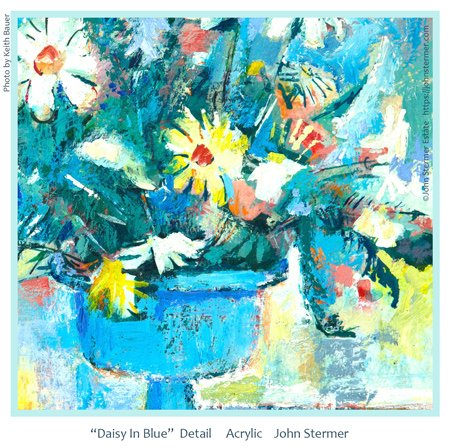 Floral Painting: Daisy In Blue; Detail