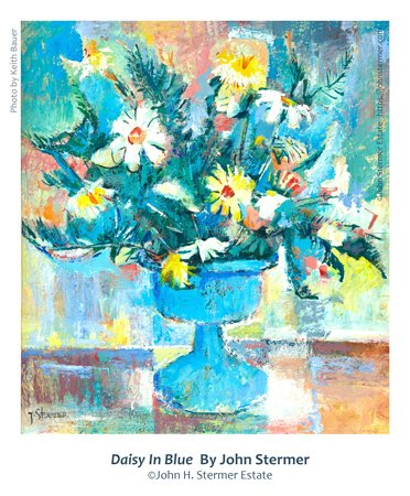 Floral Painting: Daisy In Blue