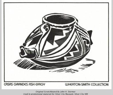 Scratchboard: Casas Grande Fish Effigy. John Stermer Artist
