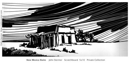 Scratchboard: New Mexico Ruins By John Stermer