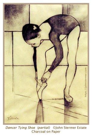 Dominance: Figure drawing, Dancer Tying Shoe.