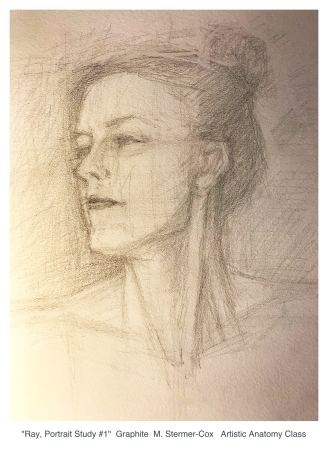 Drawing: Portrait study done in Sarah Burns Artistic Anatomy Class