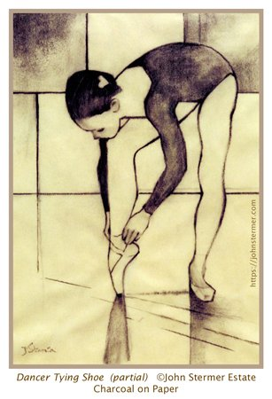 Charcoal Drawing, Dancer Tying Shoe; John Stermer Artist