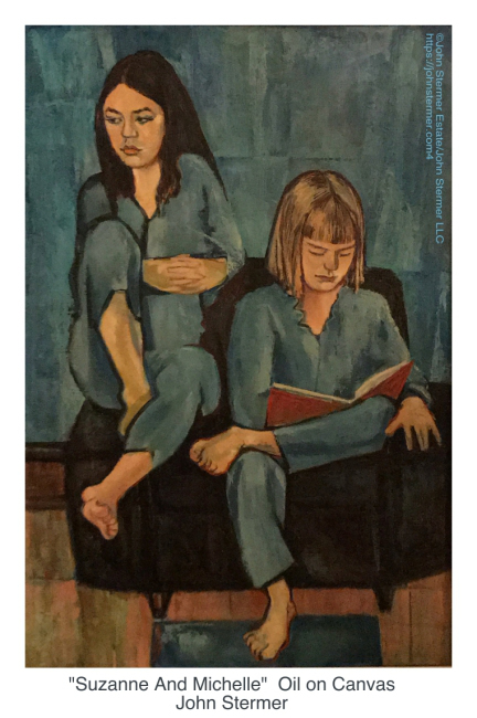 Figure and Ground Relationship: Portrait of Suzanne and Michelle in blue and orange