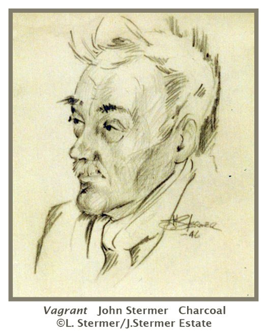 Preparatory Drawing: Vagrant, charcoal, by John Stermer