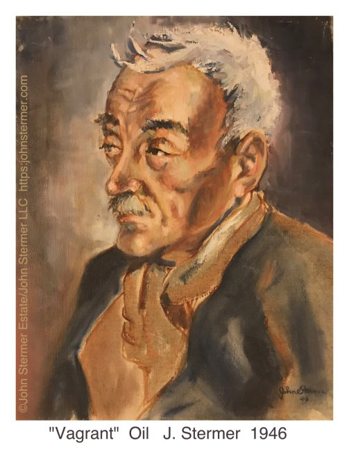 """John Stermer Painting, """"Vagrant"""" Oil"""
