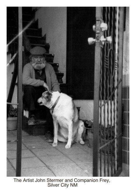 Happy 100th Birthday: John Stermer & Dog Frej at the steps to his studio