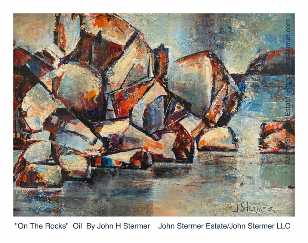 """On The Rocks"" Oil Painting By John Stermer"
