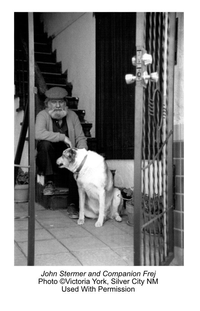 Artist John Stermer with Dog Frej, Silver City NM